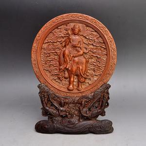 黄杨木精品浮雕藏佛屏收藏品