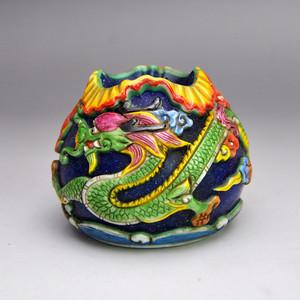 料器精品浮雕盘龙小罐收藏品