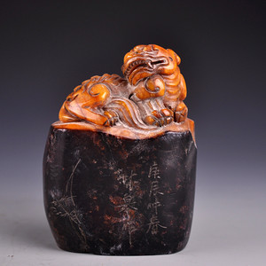 石雕乌鸦皮貔貅印章
