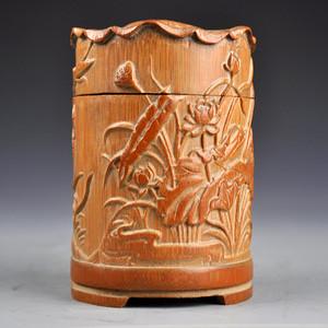 竹子精品浮雕荷叶图罐收藏品