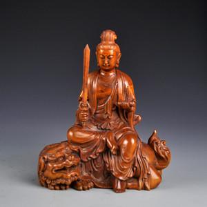 黄杨木雕拿剑观音