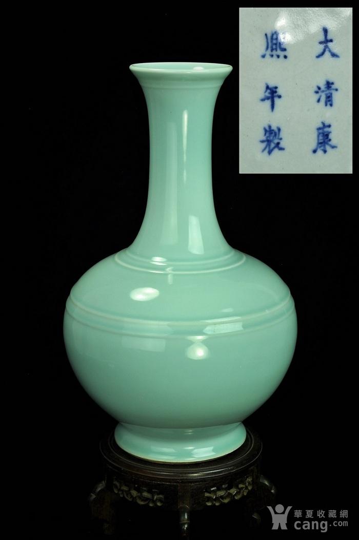 【欧美回流】【极美品】清光绪天青釉大天球瓶