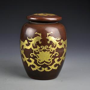 紫铜鎏金双龙戏珠罐