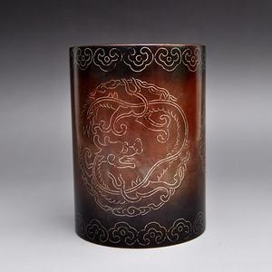 紫铜掐银丝团龙笔筒收藏品