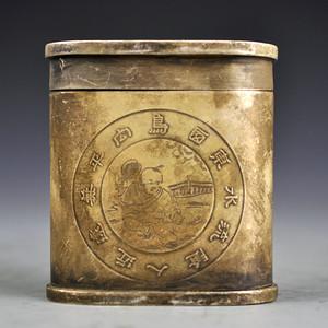 白铜精品浮雕人物图牙签盒收藏