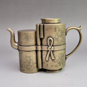 白铜精品浮雕童子嬉戏图壶收藏