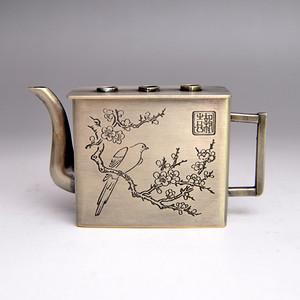 白铜精品浮雕喜上眉梢壶收藏品