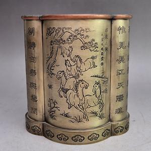 白铜精品浮雕昭陵六骏图笔筒