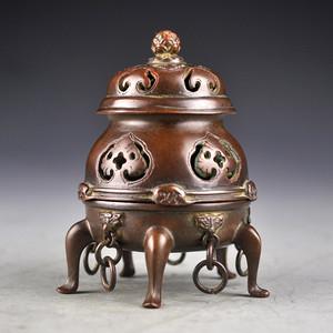 大师陈巧生款紫铜精品浮雕三层香薰收藏品