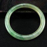 清代收藏级极品高冰玻璃种飘绿带沁老翡翠大圆手镯