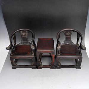红木精品浮雕缠枝莲太师椅摆件