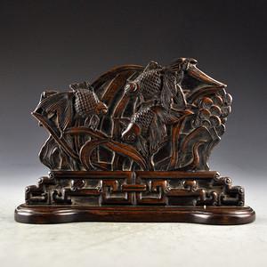 花梨木浮雕连年有余屏收藏品