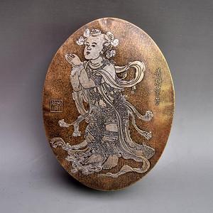 黄铜精品浮雕善财童子墨盒