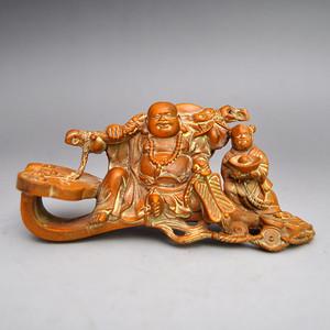 黄杨木精品浮雕弥勒如意把件