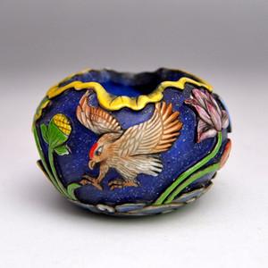 料器精品浮雕连年有余鸟食罐