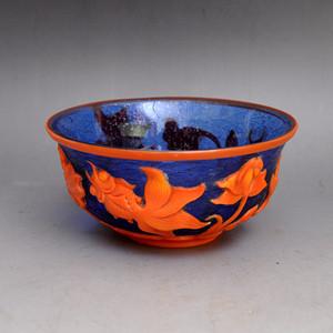料器精品连年有余碗收藏品