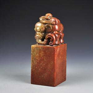 寿山石童子大象印章收藏品
