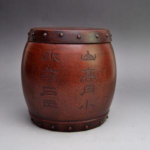 宜兴紫砂鼓形茶叶罐收藏品
