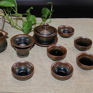 【联盟】铁胎兔毫建盏茶具12件套
