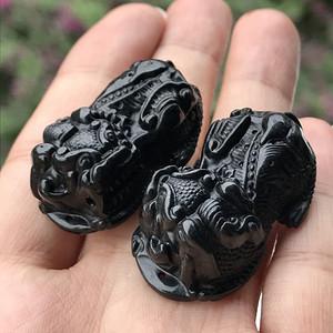 【联盟】缅甸天然A货翡翠 墨翠立体小貔貅一对