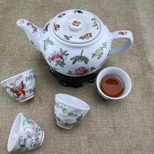 【联盟】粉彩花卉茶具一套