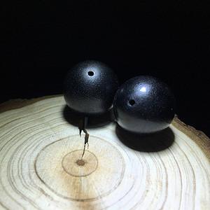 【联盟】XJ黑金纯黑不透18mm配珠一对