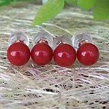 天然红珊瑚耳钉