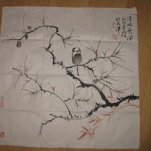 天津著名画家霍春阳花鸟。斗方