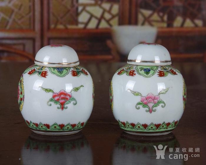 景德镇陶瓷 文革瓷器 厂货 收藏 粉彩铜钱花图宝珠坛一对图3