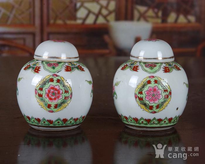 景德镇陶瓷 文革瓷器 厂货 收藏 粉彩铜钱花图宝珠坛一对图2