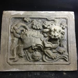 【精品】清代狮子照壁砖雕一对