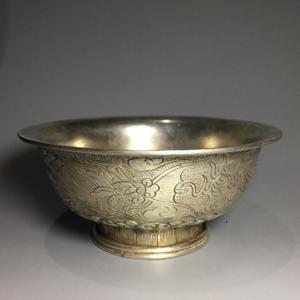 【精品】民国老银质龙凤錾花小碗一只