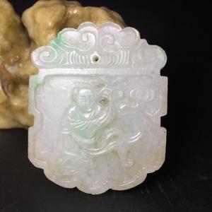 【精品收藏级】清代冰种翡翠人物方牌