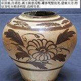 磁州窑白釉酱彩菊花纹罐