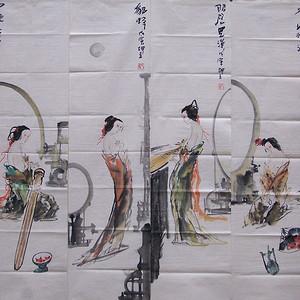 刘坤玉国画作品'古代四大美女图'四条屏宣纸软片一套