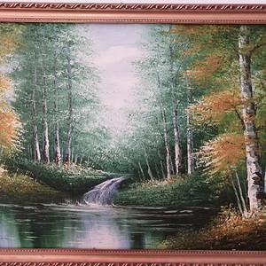 手绘白桦林风景油画(不含画框)