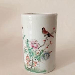 民国 粉彩花鸟纹饰笔筒