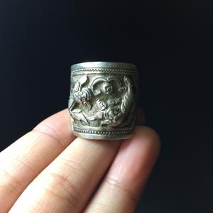 【精工】清代浮雕老银狮子戒指一枚