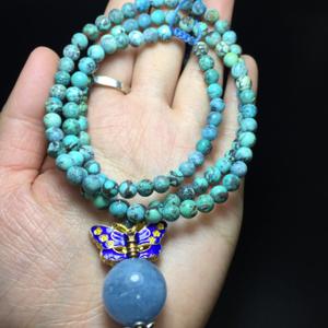 【精品】保真天然绿松石海蓝宝石项链一条