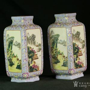 清乾隆  官窑 粉彩 四季山水纹 方瓶一对