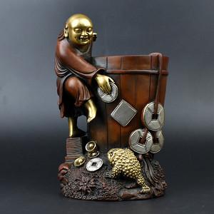 联盟 齐天阁特价!紫铜鎏金鎏银刘海戏金蟾笔筒