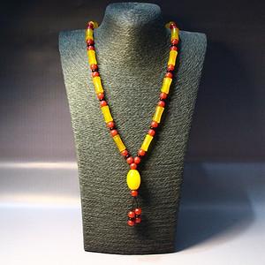 精品天然黄红玛瑙项链