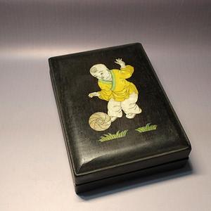 民间收藏 贝壳镶嵌童子 砚台