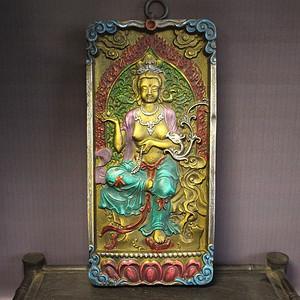 藏唐卡 油彩 老木框 观音挂牌(墙挂)
