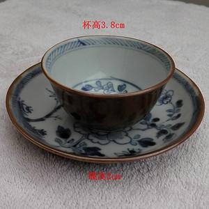 【金牌】雍正淡描青花酱釉杯碟