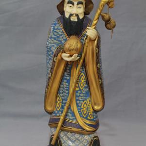 【季度大拍】铜胎掐丝珐琅金帽嵌珍贵材料寿星摆件