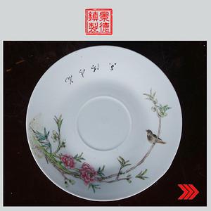 景德镇老厂瓷/精品收藏/全手工彩绘花鸟图盘