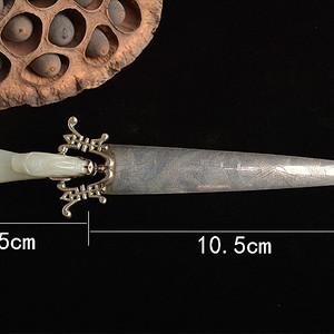 【季度大拍】 海外回流清代和田玉银剑拆信刀文房工具