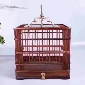 雅玩,精工,红酸枝四方精细鸟笼