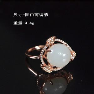 和田玉  925银  金镶玉 款式     美戒指